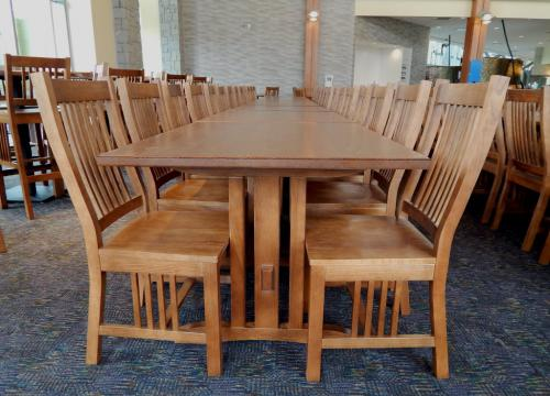 Mission Style Trestle Table- Dining Chairs Grouping