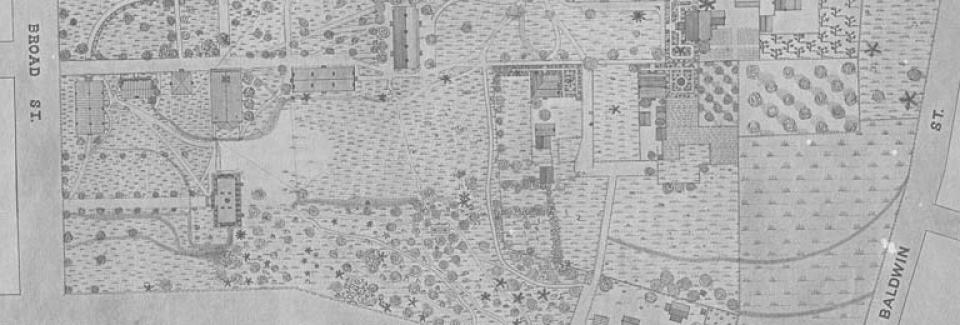 A 1894 map of UGA's campus surveyed by the junior class.
