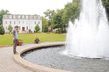 Landscaped space with fountain